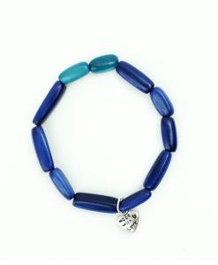 Bracelet Tagua Rice - Blue
